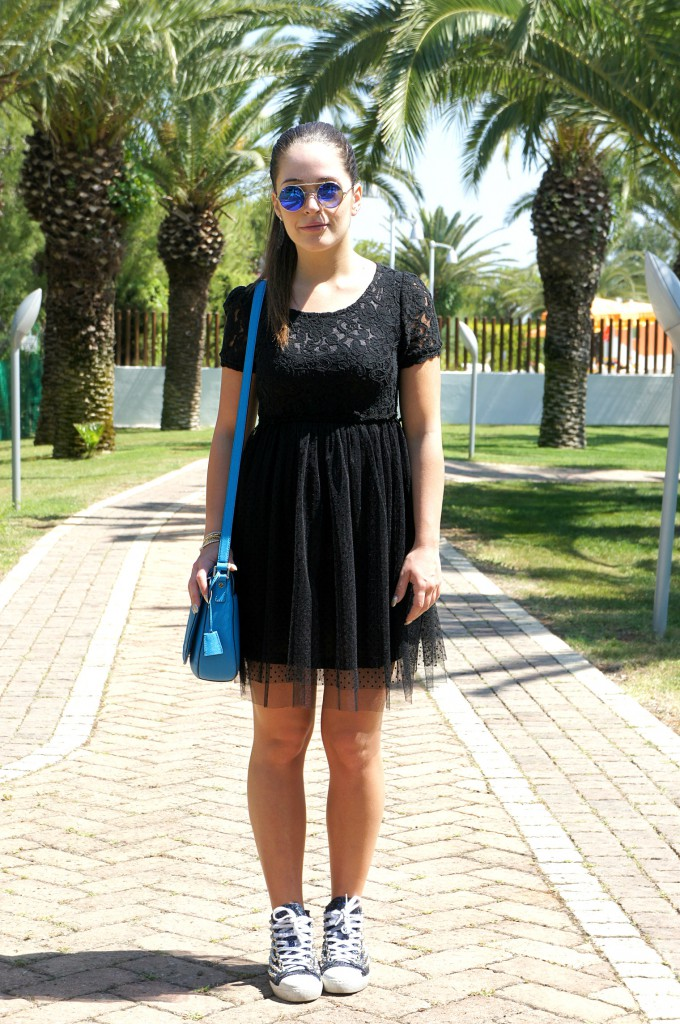 Vestito nero in tulle