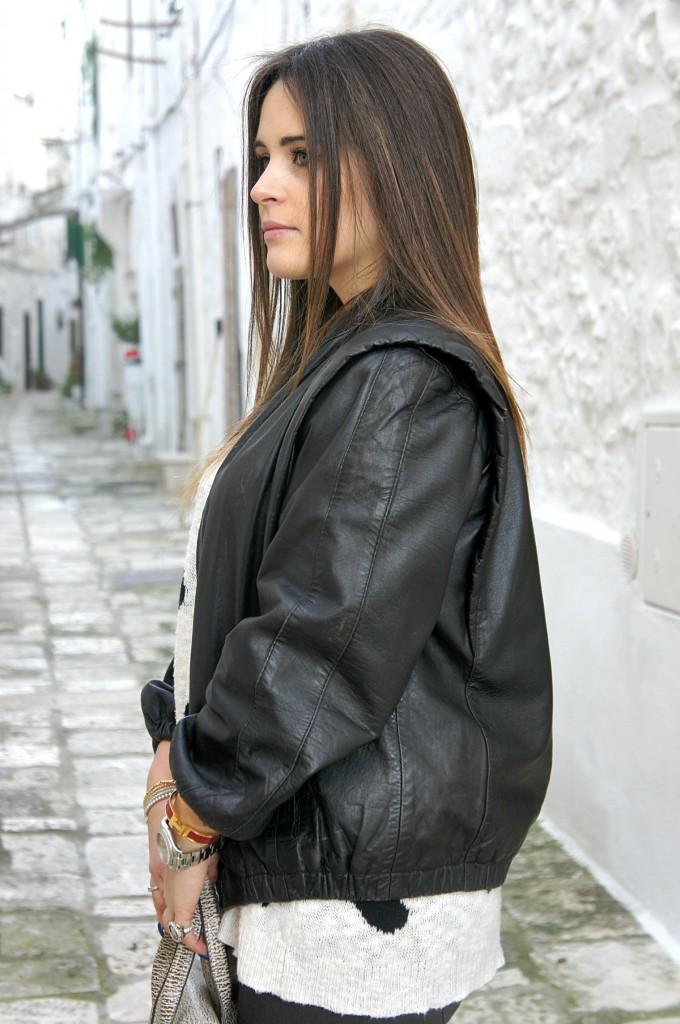 giacca di pelle oversize
