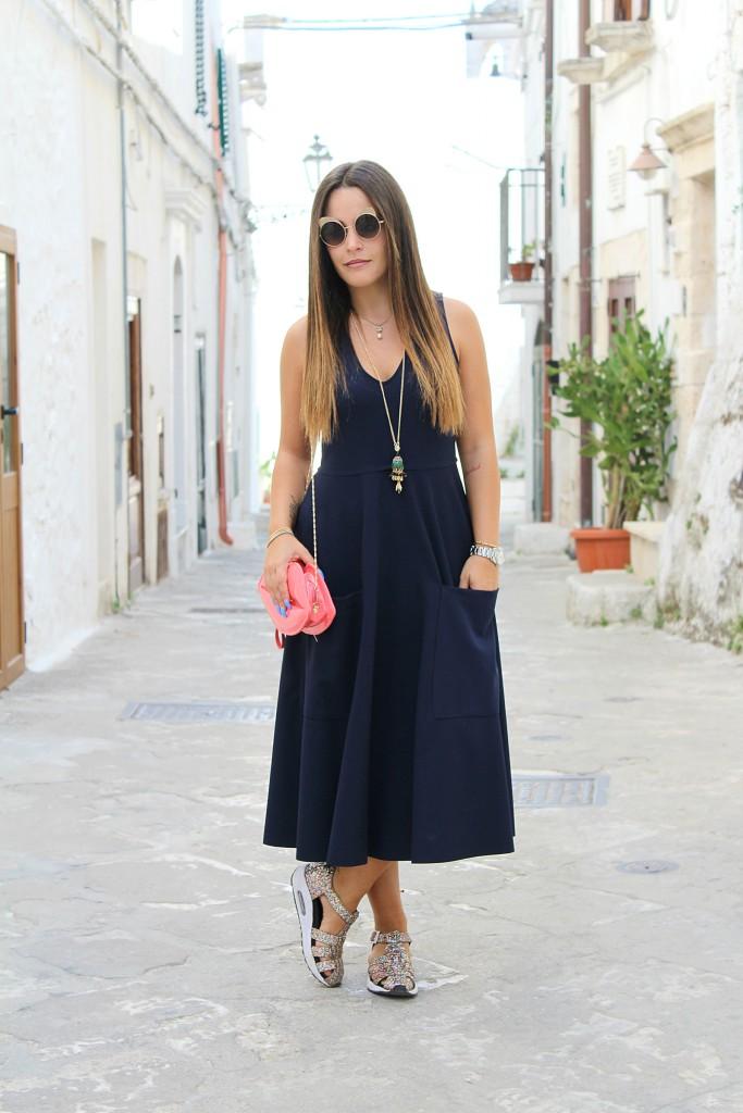 vestito blu lungo