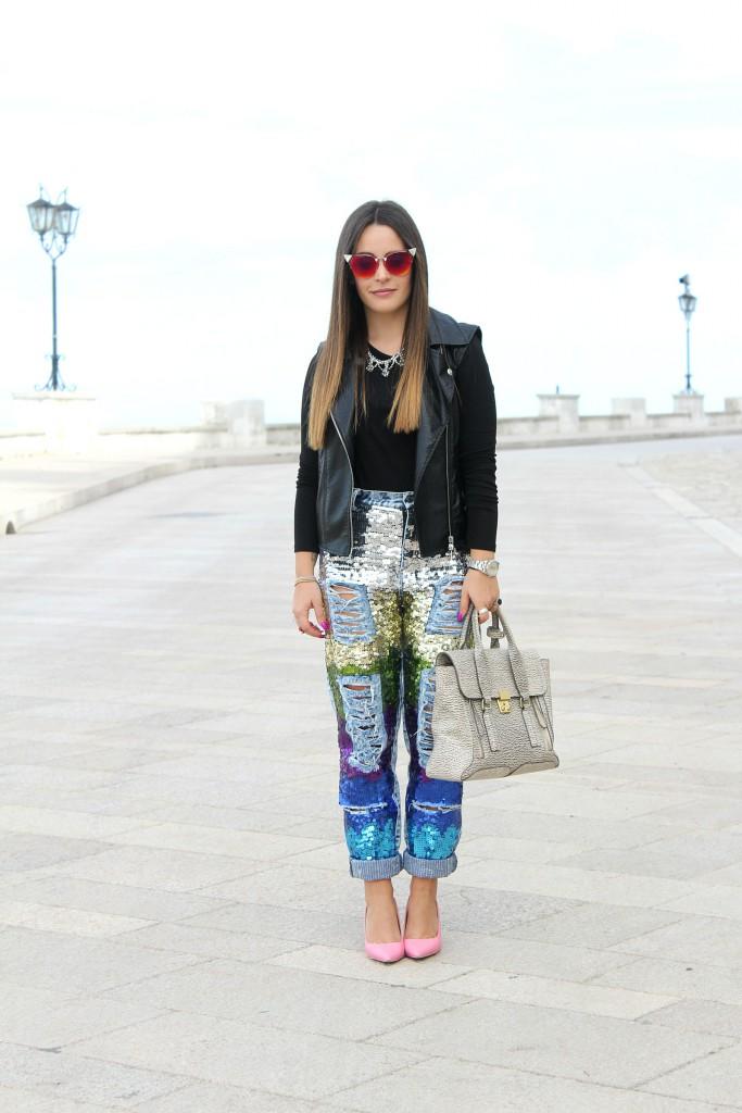 jeans paillettes