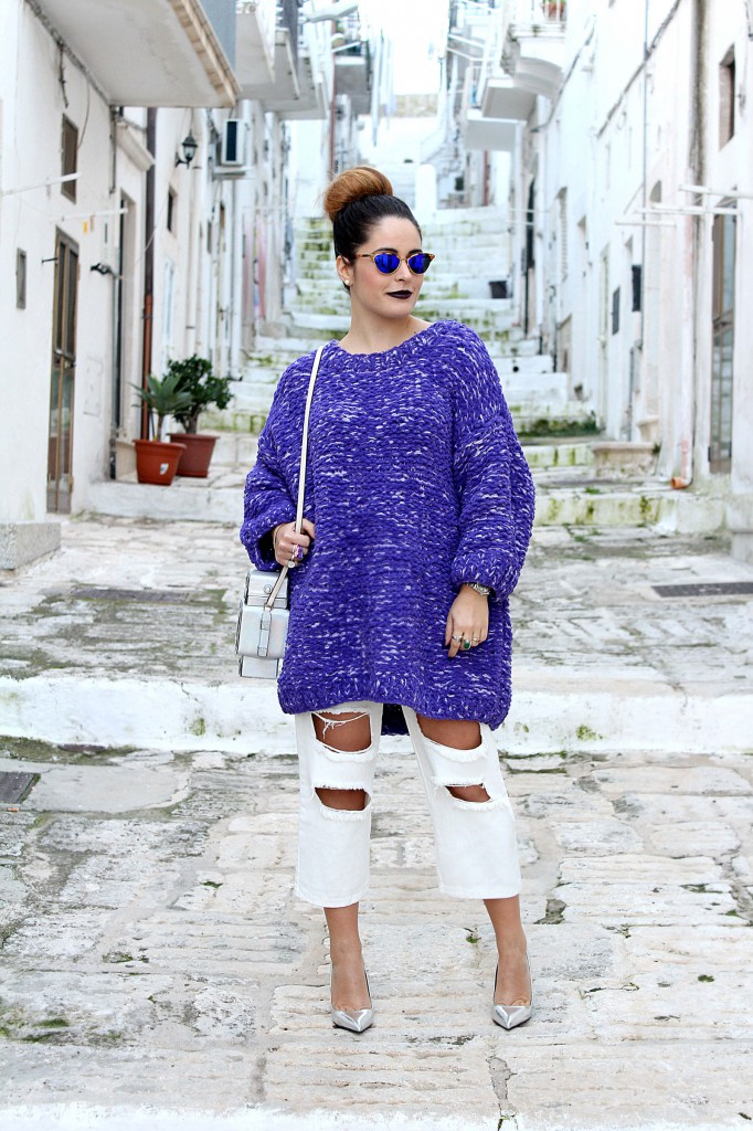 maglione di lana viola