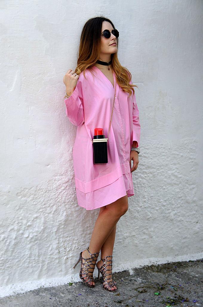 abito camicia rosa