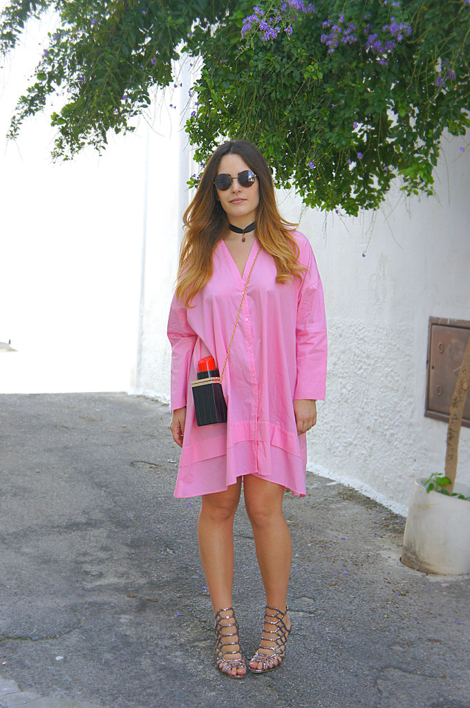 camicia lunga rosa