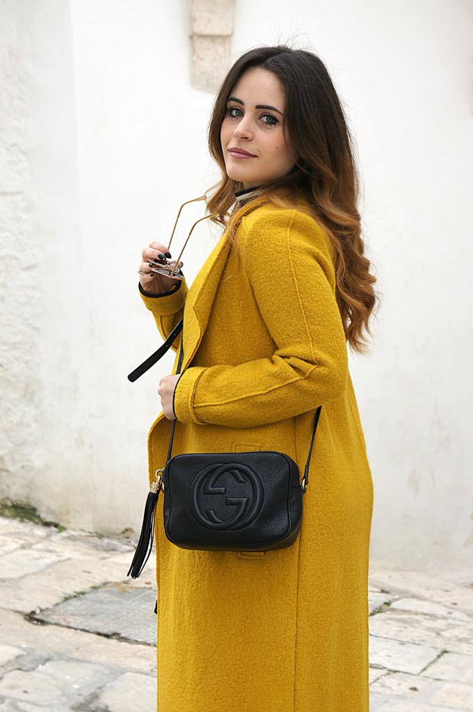 cappotto lungo giallo