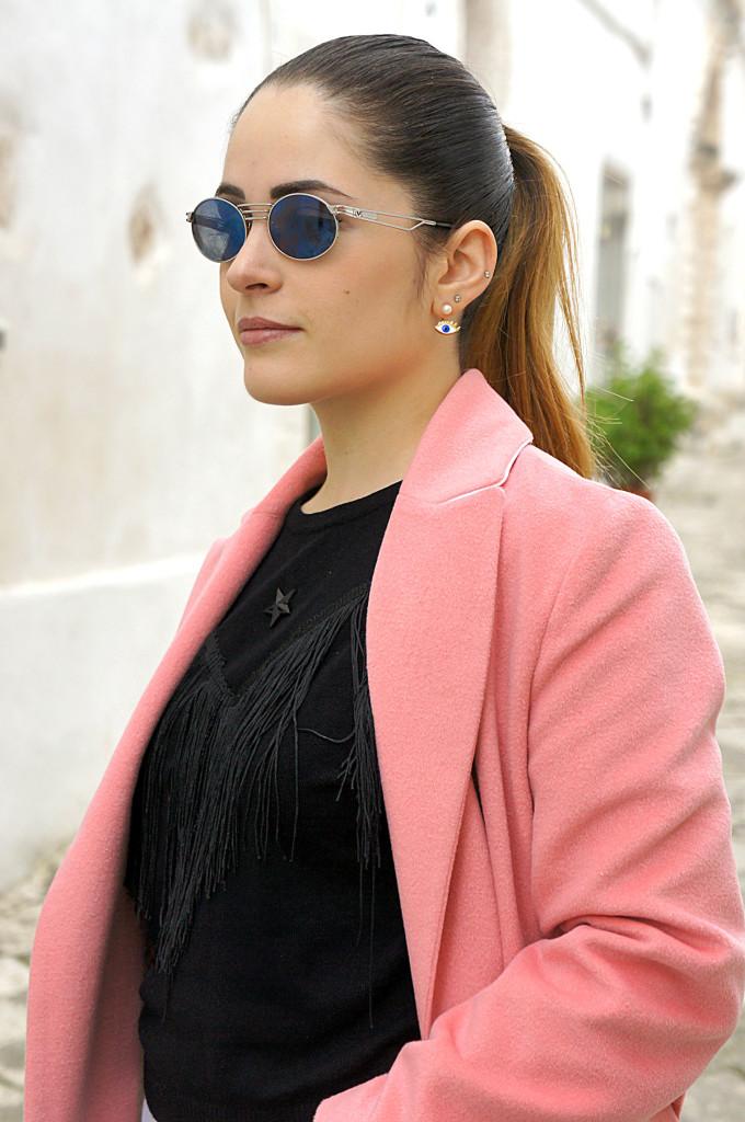 cappotto lungo rosa