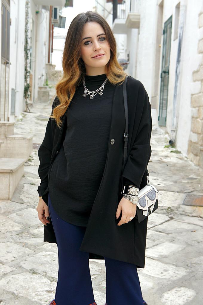giacca nera oversize