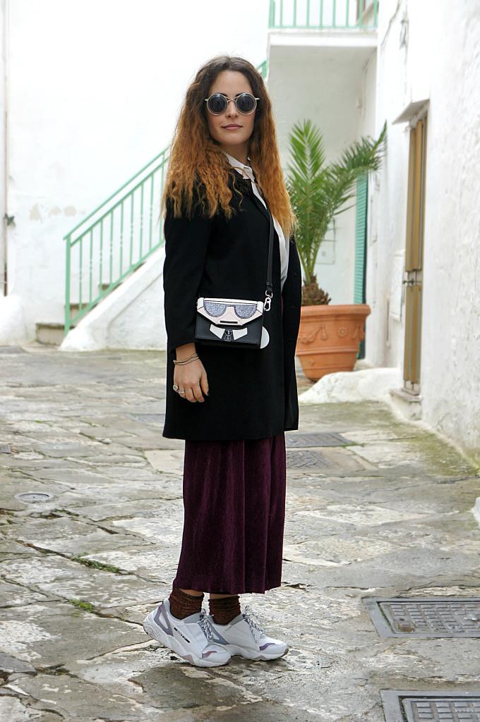 pantaloni culottes in ciniglia