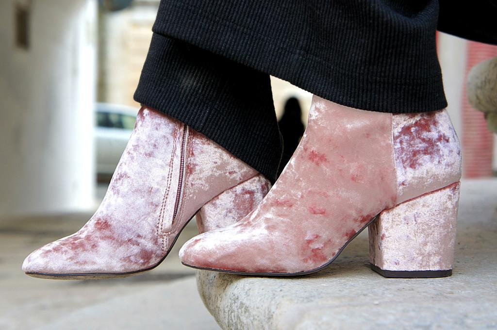 stivaletti rosa velluto
