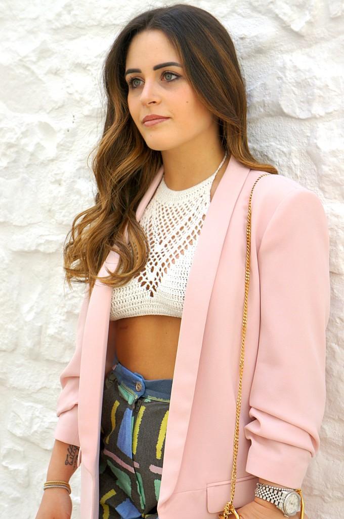 blazer rosa look