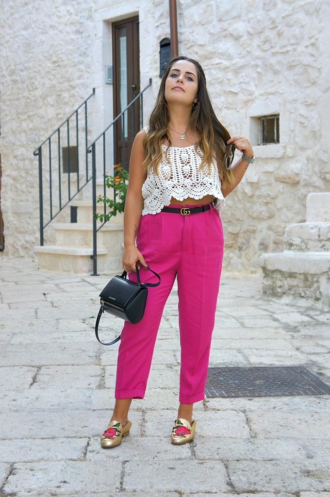 pantaloni alta vita colorati